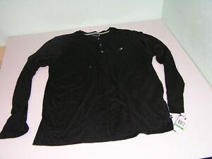 Nautica Men's Long Sleeve Pajama Top true Black, Size Large NEW NWT