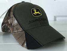 John Deere Realtree AP Camo Mesh and Olive Fabric Hat Cap w Details