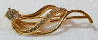 Gold colour & clear stone vintage Art Deco antique scroll brooch