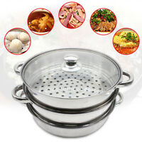 28cm / 11.02'' Dia Silver 3 Tier Stainless Steamer Cooker Pot Set W/ Glass Lid