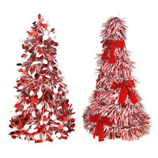 Christmas Tinsel Tree Cone Tabletop Topper, Red/White, 10-Inch, 2-Piece