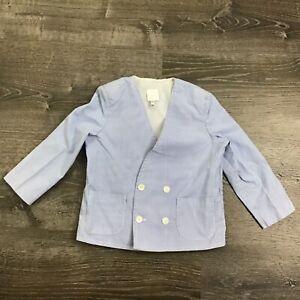 Boys Boutique Suit Jacket Blue White Seersucker Casual Dressy Party Size 4T