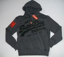 SUPERDRY Black Grit Vintage Logo 1st Pullover Hooded Sweatshirt Mens Sz XXL NEW