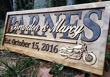 Personalized Motorcycle Gift Last Name Sign Custom Wood Couple Anniversary Gift