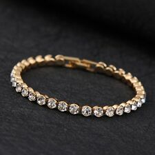 14K Gold plated MADE WITH SWAROVSKI CRYSTALS Tennis bracelet Xmas Birthday Gift