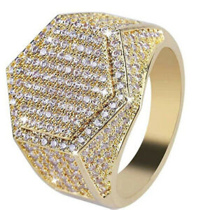 Big Mens Full Crystal Ring Hip Hop Rings Jewelry Micro Pave Finger Gold Size 8