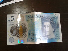 5 pound note,plastic,£5,used but clean and good condition,AC37 series,early note