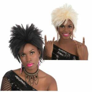 Rock Idol Wig Punk 1980s Rocker Pop Star Fancy Dress Costume Accessory