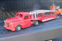 Structo Arial Ladder Fire Truck w/Fireball Engine - pressed steel - USA