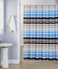 "Charlie Mens Fabric Shower Curtain Brown Blue Gold Classic Stripes Print 70""x70"""