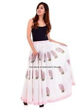 BOHO Cotton Womens Floral Hand Print Gypsy Long Maxi Full Skirt Casual Sun Dress