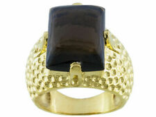 Over Sterling Silver Ring - Size 7 Dark Chocolate Smoky Quartz - 18K Yellow Gold