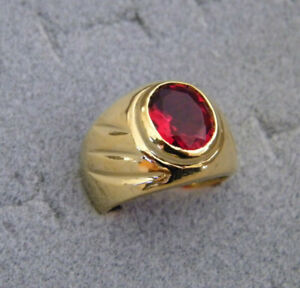 Men's Oval Red Ruby Solitaire CZ Yellow Gold Plated Smooth Ring Size 9.5