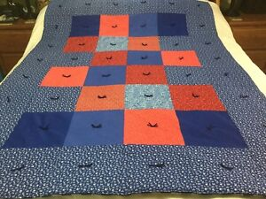 """Handmade Blues/Reds Cotton Quilt Bedspread Blanket Lap Throw 54"""" x 72"""" Twin New"""