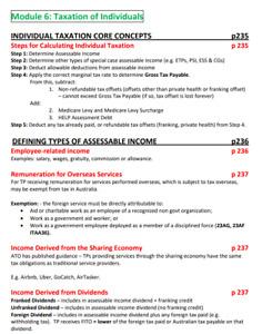Australia Taxation CPA Notes