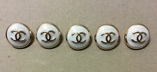 Vintage Chanel Buttons Jacket Coat Blazer Set of 5 Gold and White Colour