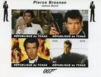 Chad 2018 MNH James Bond Pierce Brosnan 007 4v Impf M/S Movies Film Stamps