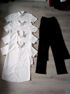 Boys School Uniform Bundle, Age 14-15 Years, 4x White Shirts + 2x Black Trousers