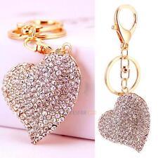 Big Heart Keychain Crystal Rhinestone Keyring Charm Pendant Bag Key Chain Ring