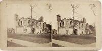 A Identificare Eglise Ruines, Foto Stereo Vintage Albumina Ca 1865