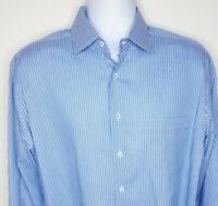 Robert Talbott Estate Shirt Blue White Striped Long Sleeve Mens Size 16 NEW