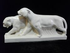 Crackled Glazed Figure  Pair  Panthers  Art Deco 1930's  - E.SIEGL??  Scarce!