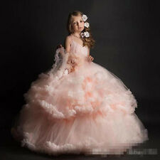 Stock Pink Flower Girl Dress Pageant Dance Ball Gown Party Prom Birthday Dress