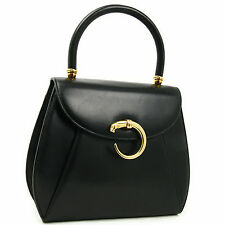 Cartier Panthere Hand Bag Leather Black Authentic #2399