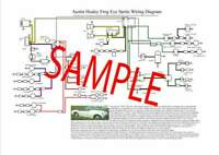 Austin Healey Frogeye Sprite Colour Wiring Diagram A3 & Laminated - Ideal Gift!
