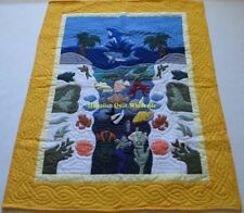 Hawaiian quilt baby blanket  wall hanging hand quilted/machine appliquéd YELLOW