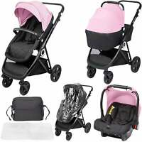 The Million Dreams 3 In 1 Travel System Pushchair Car Seat Changing Bag - Pink