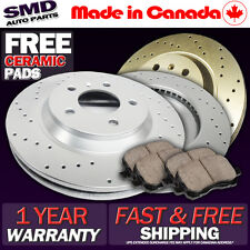 A0808 FIT 2010 2011 2012 Mazda 3 2.0L FRONT Drilled Brake Rotors Ceramic Pads