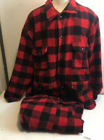 Vtg Thermo King Wool Buffalo Plaid Jacket & Pants Bush Hunting Lumberjack Large
