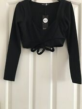 Womens Black Bralet Top. By Boohoo.           Size 8/ 10 .... New With Tags