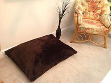 Adults / Child Floor Cushion Filled Brown Faux Fur Large 3cf Size Luxurious New