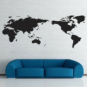 World Map Wall Stickers Art Vinyl Decal Home Decor Removable Mural Free Postage
