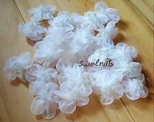 10pcs White Chiffon Organza Fabric Beaded Daisy Flowers Lace Applique Trimming