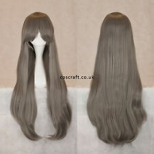 80cm long straight cosplay wig with fringe in grey, very thick, UK SELLER, Alex