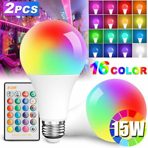 2X Light Bulb 15W(150W) LED RGBW A19 Multi-Color Changing Lamp w/ Remote Control