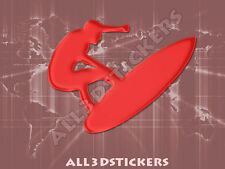 3D Sticker Decal Resin Domed Surfer Surf Adhesive Decal  Red