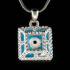 Turquoise Square Frustum Enamel paint ~Evil Eye Protection Necklace Mens Jewelry