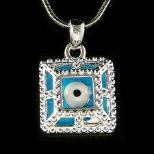 Turquoise Square Frustum Enamel paint ~Evil Eye Protection Necklace Mens Jewelry