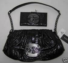 GUESS by Marciano Luster Logo Vernis Noir Sac a Main Bag Portefeuille Lot Noir