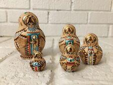 Nesting Dolls Beautiful signed burnt wood w gold, blue, & pink leaf. 5 pcs