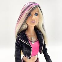 2008 Fashion Fever ROCK STAR Rocker Barbie Doll Blonde Hair PINK & BLACK Streaks