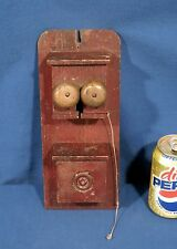 """Vintage Antique Toy Telephone Wood In Red Paint Doll Furniture 11"""" Tall"""