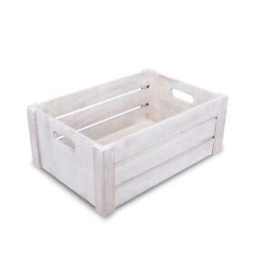 Wickerfield White Wash Home Storage Wooden Crate, Wedding Gift Wood Box