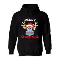 Christmas 2020 Mens Printed Hoodie Funny Reindeer Quarantine Social Distancing