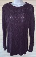J. Jill Sz MEDIUM Sweater Purple Black Marled Chunky Knit Pullover Cotton EUC