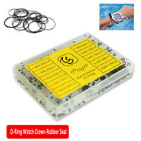 Black Rubber Rings Watches Gaskets Tiny Crown-O-Ring Box Set for Waterproof Seal